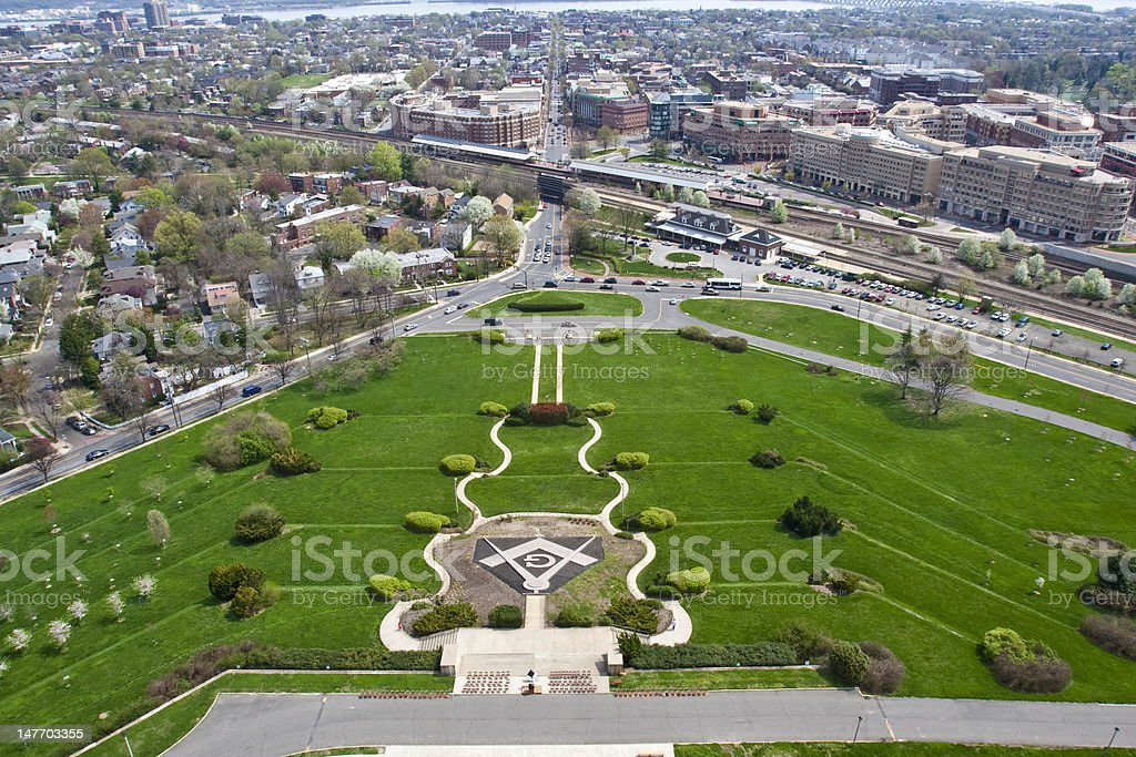 View from Washington Masonic National Memorial in Alexandria, VA stock photo