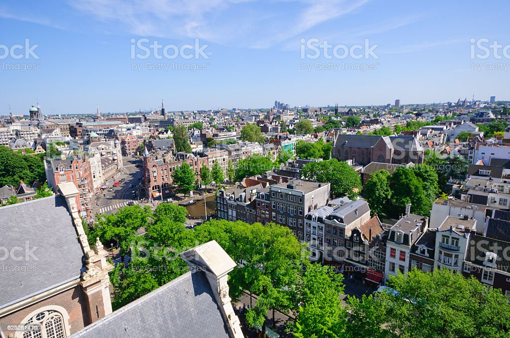 View from Westerkerk, Amsterdam, Netherlands stock photo