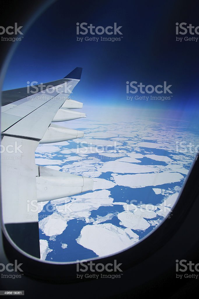 View from window of drifting ice sheets stock photo
