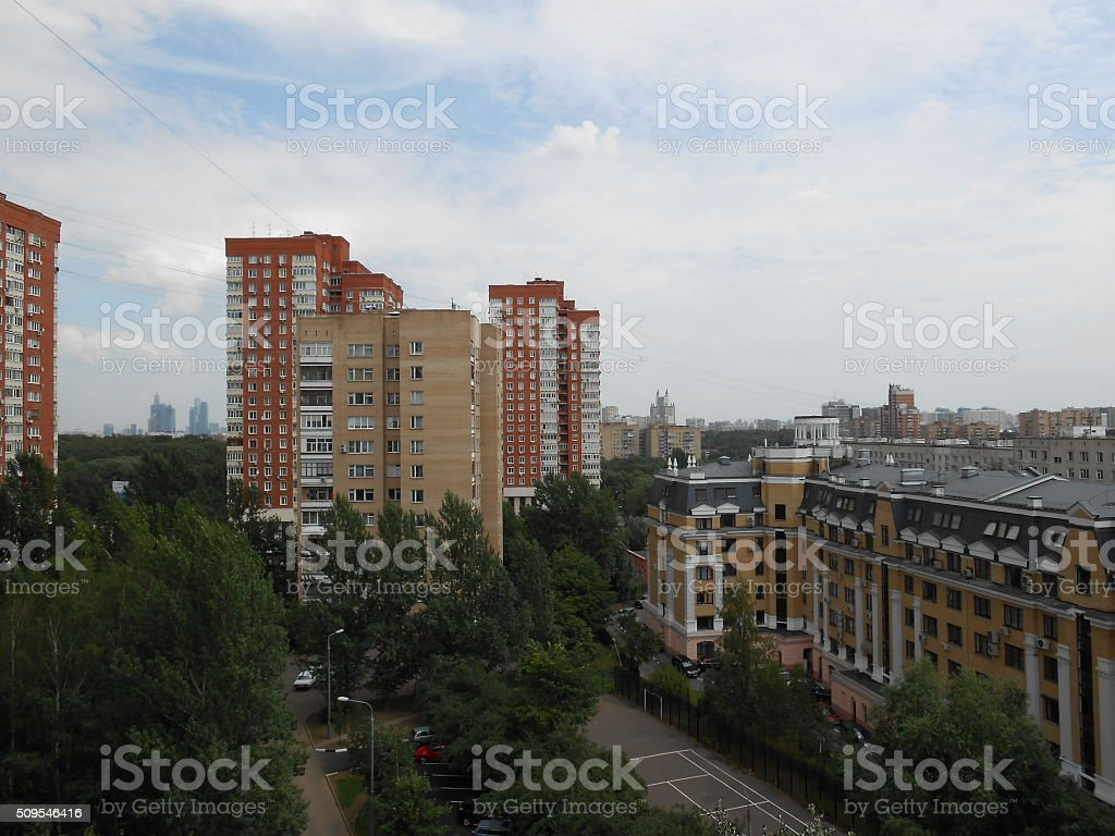 View from Window - Western Part of Moscow, Russia. stock photo