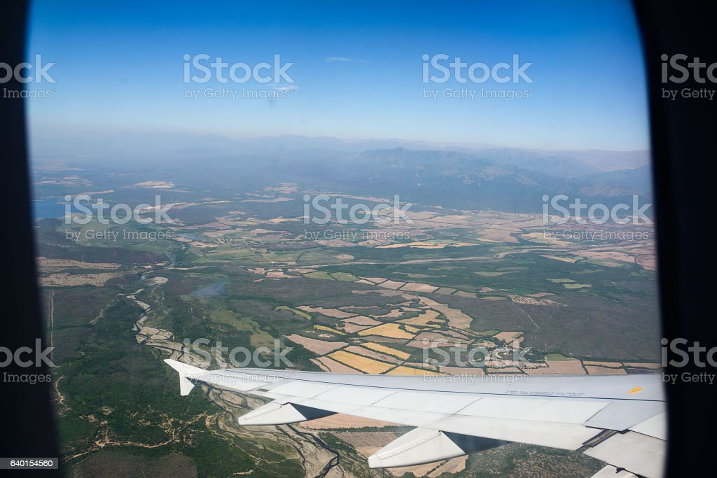 View from windows of airplane stock photo
