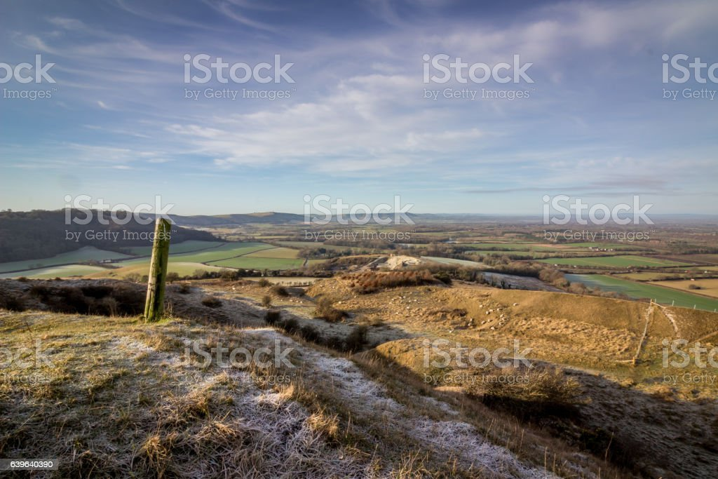 View from Wolstonbury Hill, South Downs, Sussex, England, UK. stock photo