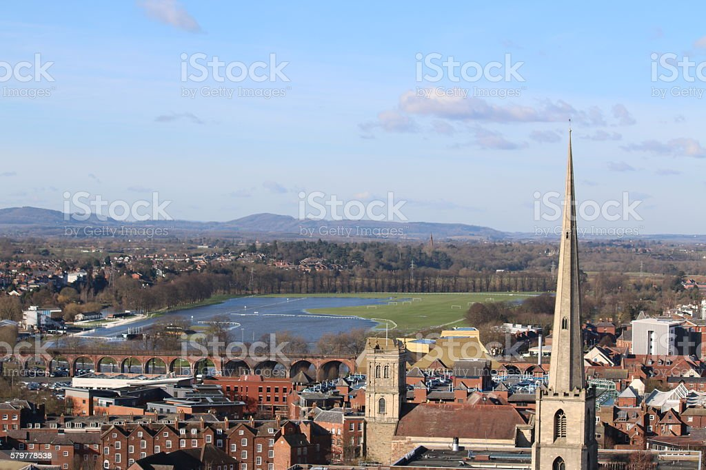View from Worcester Cathedral stock photo