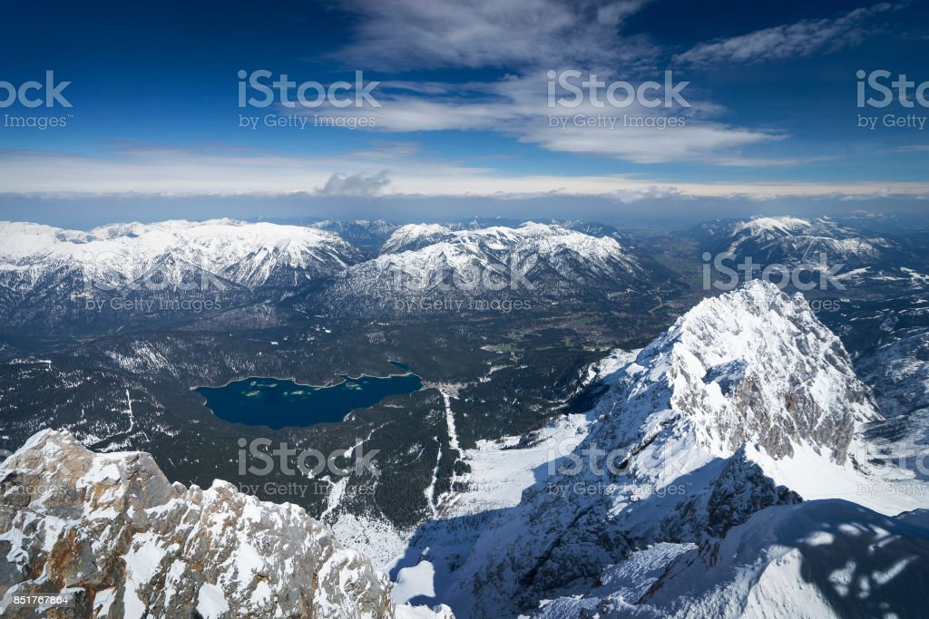View from Zugspitze, Germany stock photo