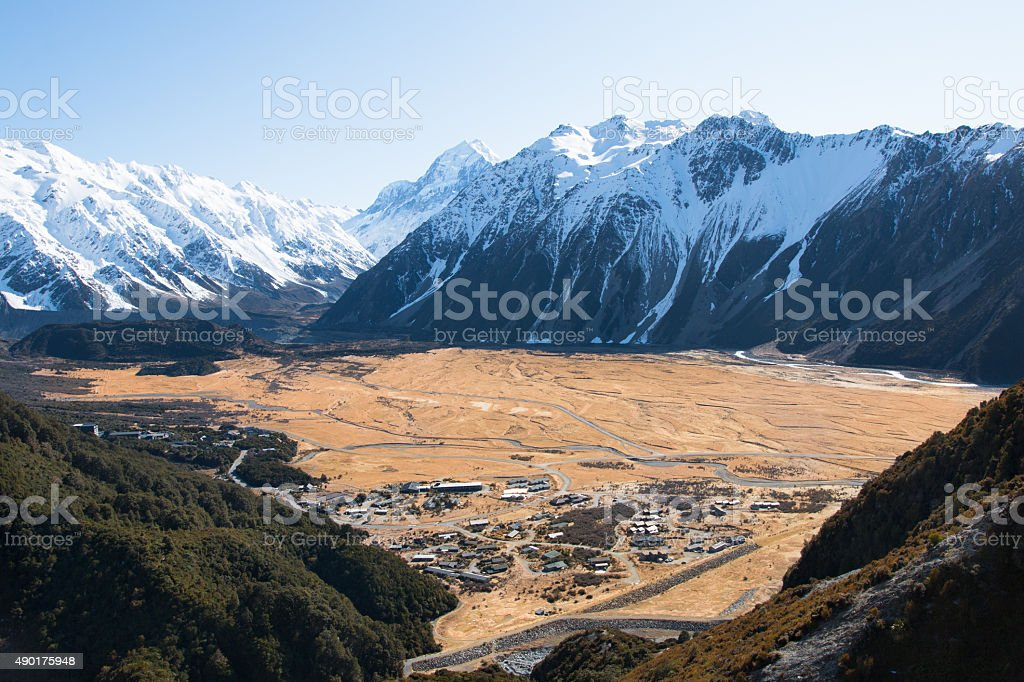 View Hooker Valley from above, mt. cook, New Zealand stock photo