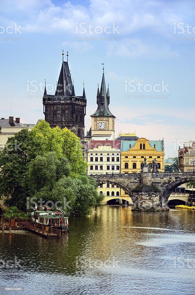 View if Charles Bridge in Prague stock photo