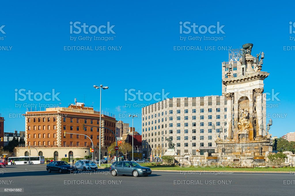 View in Barcelona on Placa De Espanya. stock photo