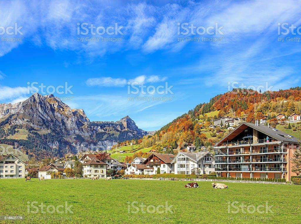 View in Engelberg, Switzerland stock photo