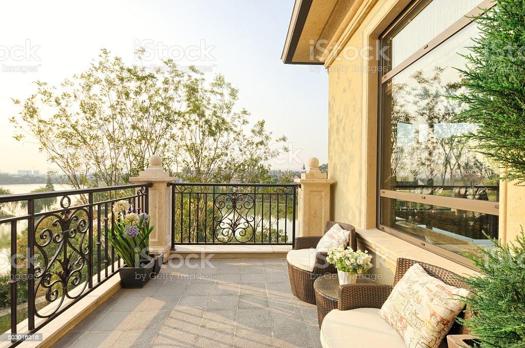 view in modern balcony stock photo