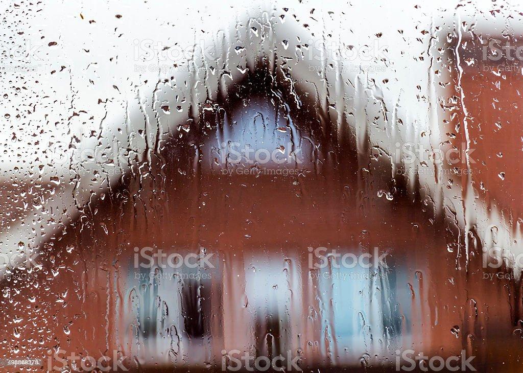 View in rainy weather stock photo