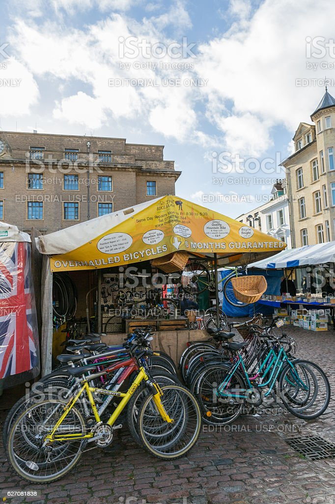 view in the city centre market of Cambridge England stock photo