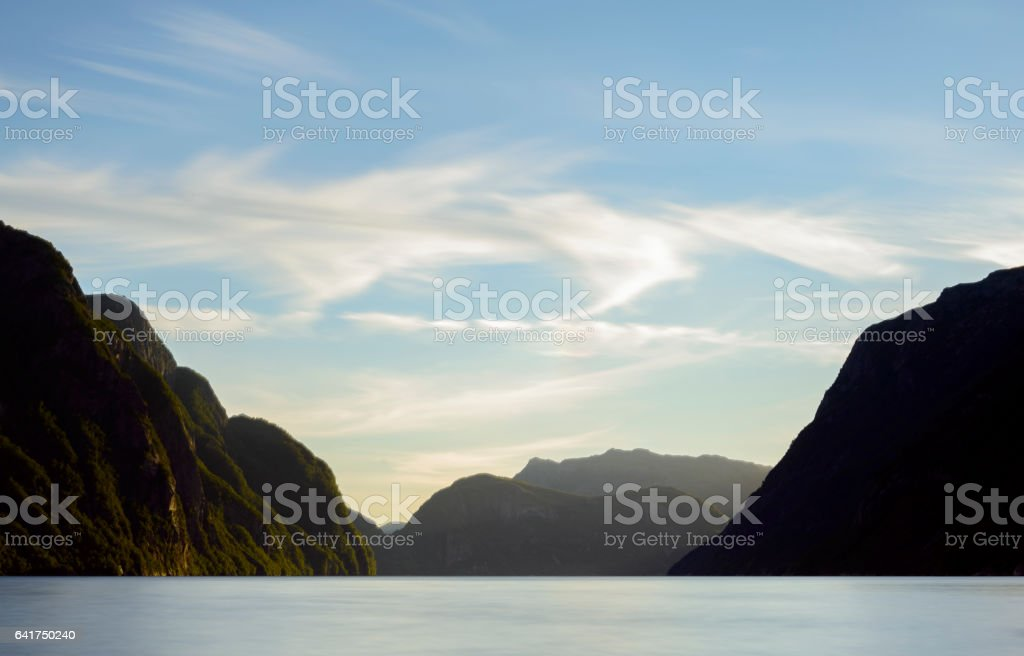 View in the Frafjord during a beautiful calm summer day stock photo