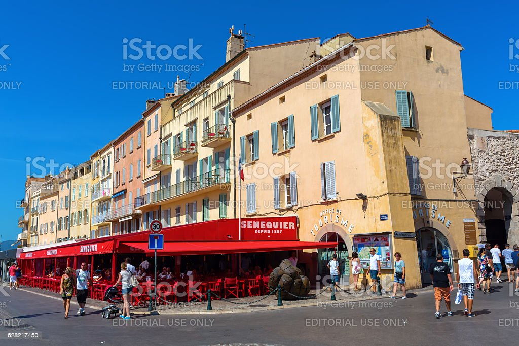 view in the harbor of Saint Tropez, France stock photo