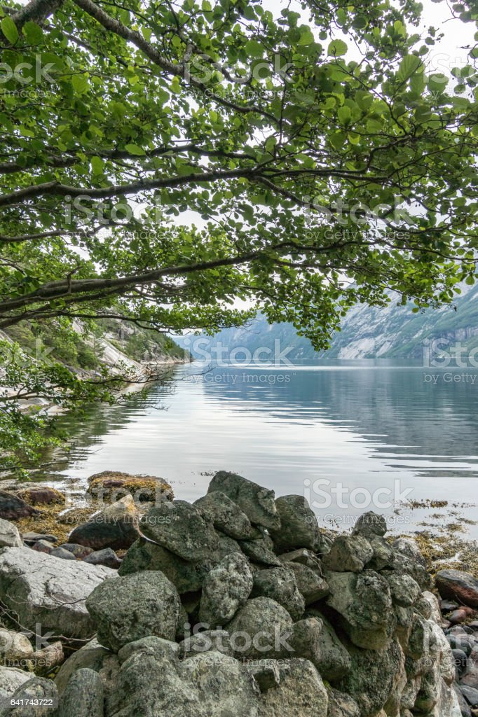 View in the Lysefjord in Norway during summer stock photo
