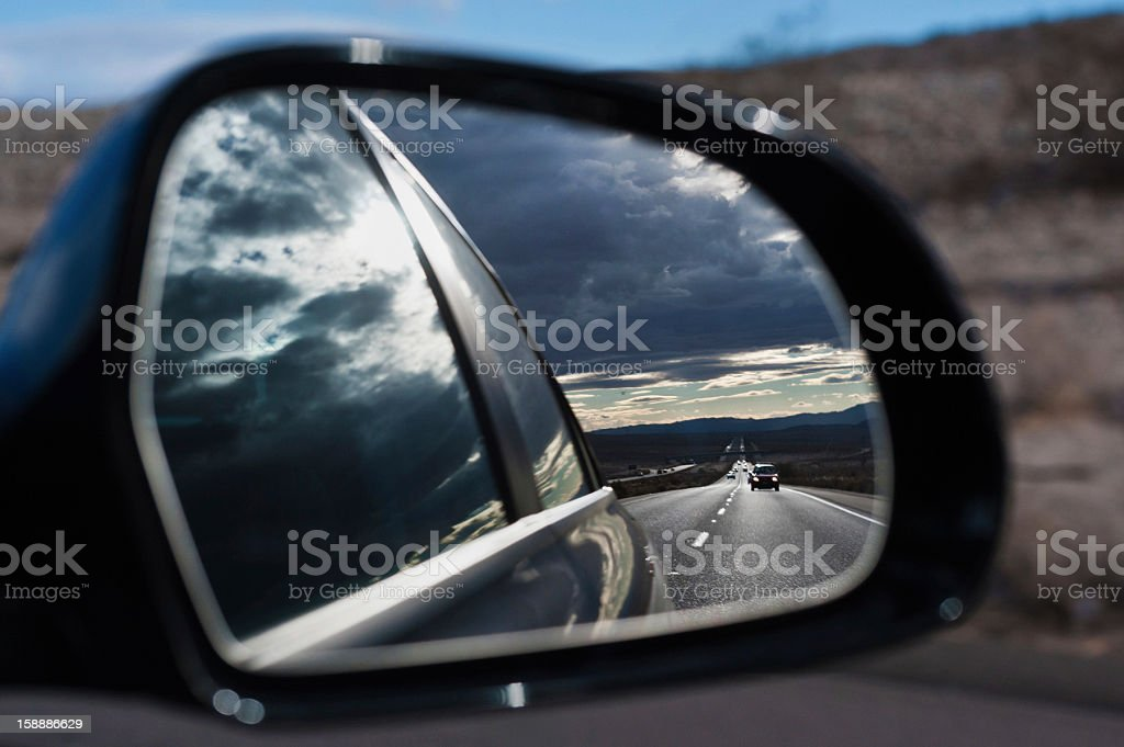 View in the mirror stock photo