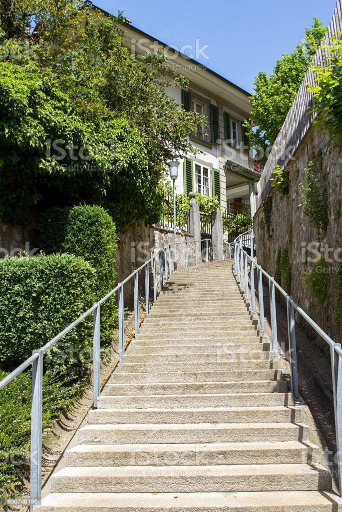 View in the old town of Thun, Switzerland stock photo