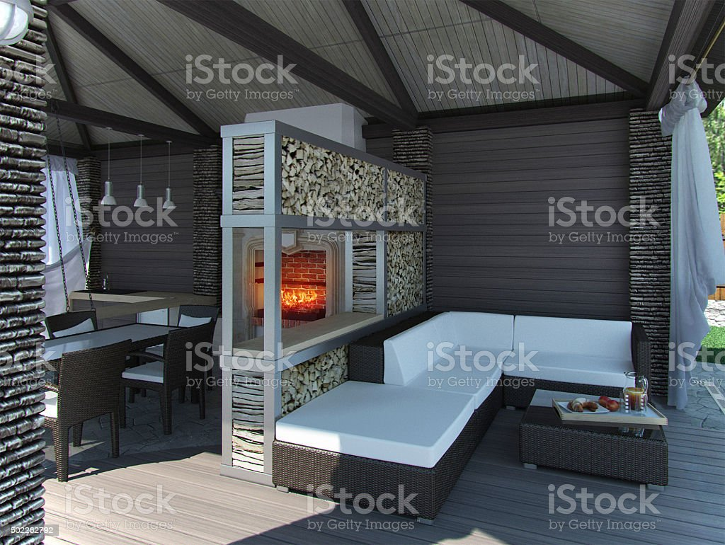 View inside gazebo, 3D render stock photo