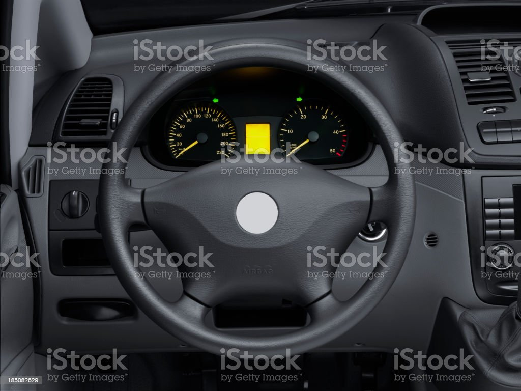 View interior car of a modern automobile showing dashboard stock photo