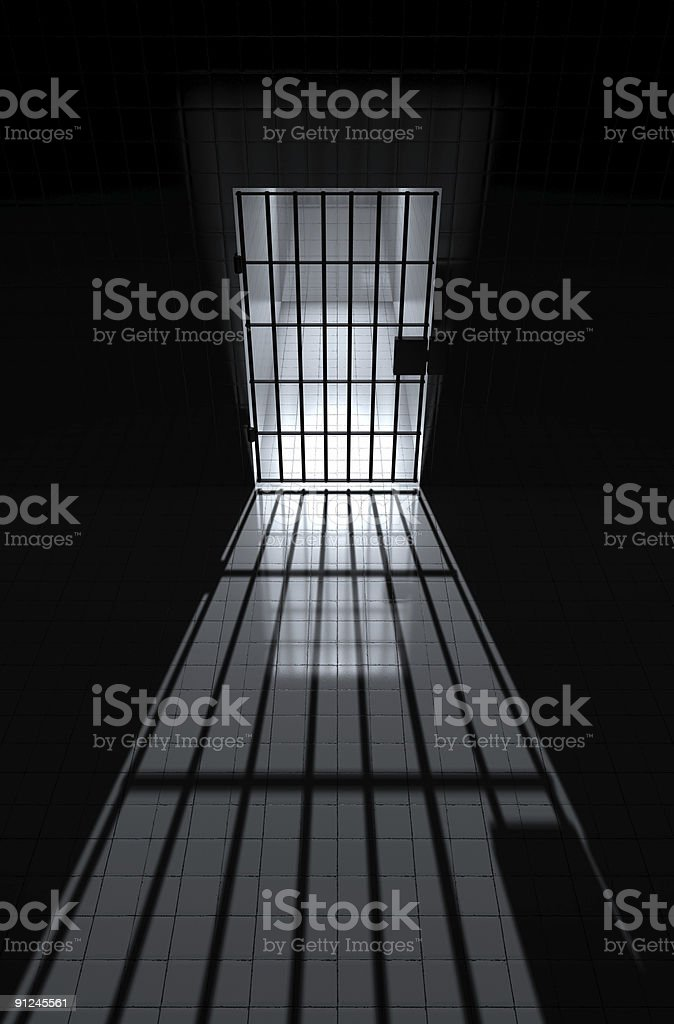view into a jailhouse cell stock photo