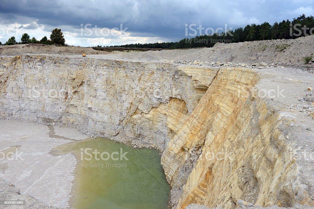 view into a limestone quarry mine stock photo