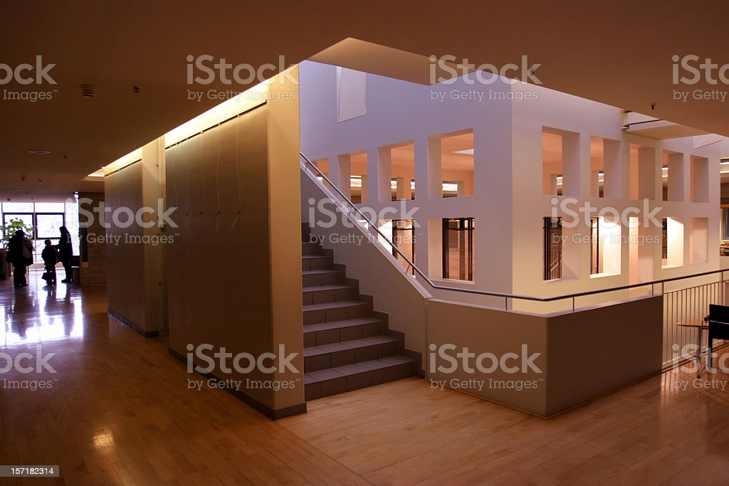 View into a modern design building with  square inner room royalty-free stock photo