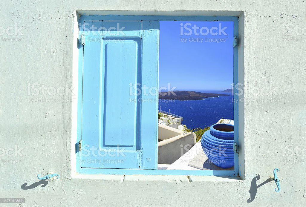 View into beauty of Greece - Santorini stock photo
