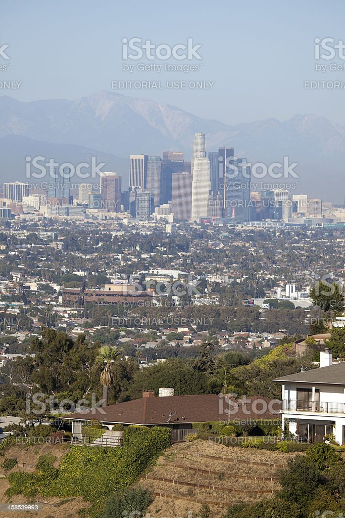 View into Downtown Los Angeles Office Building Skyscrapers royalty-free stock photo