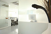 View into modern reception desk white grey mood
