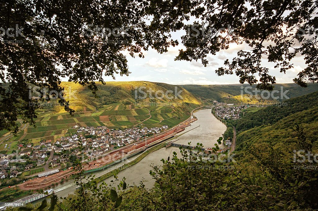 view into mosel river valley with valwig and ellenz stock photo
