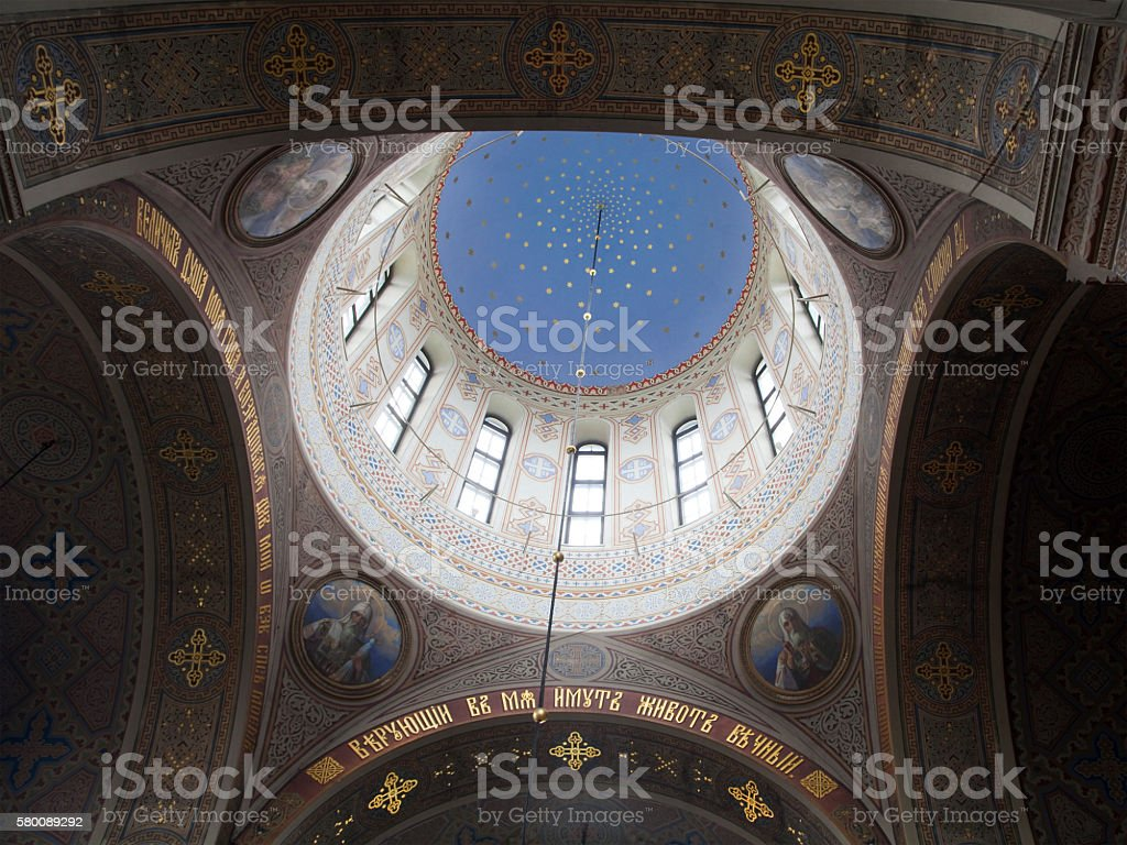 View into the Cupola of the Uspenski Cathedral, Helsinki, Finland. stock photo
