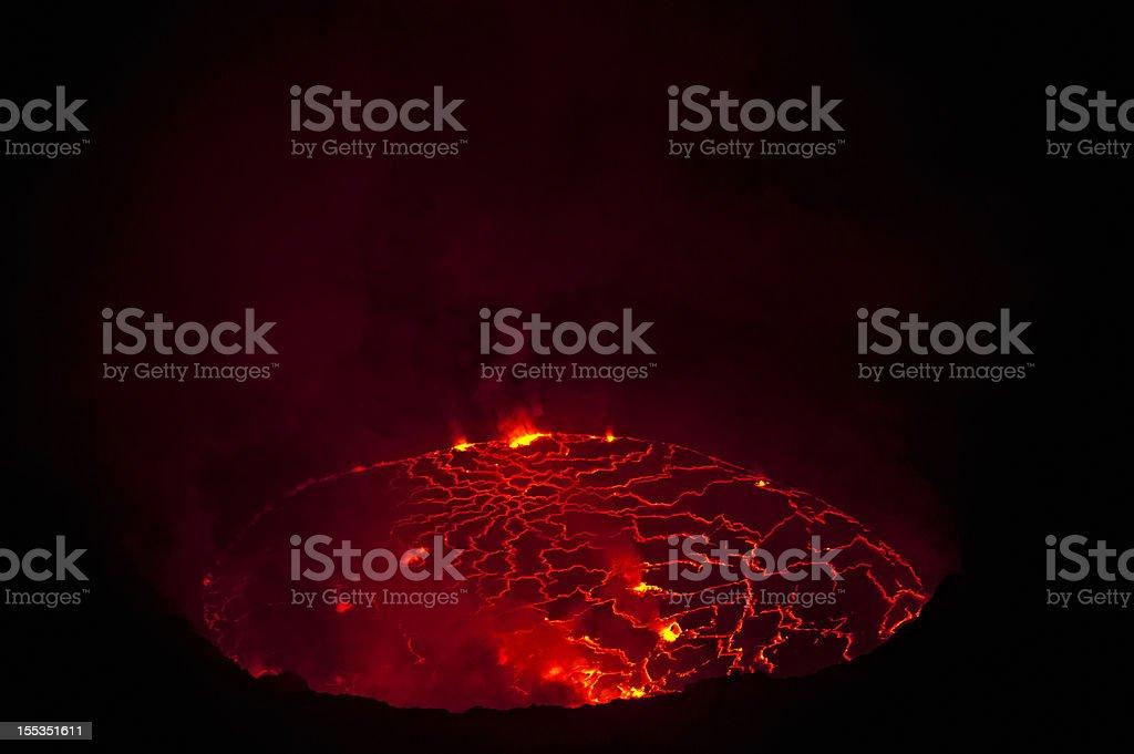 View into the heart of earth - Nyiragongo volcano, Congo stock photo