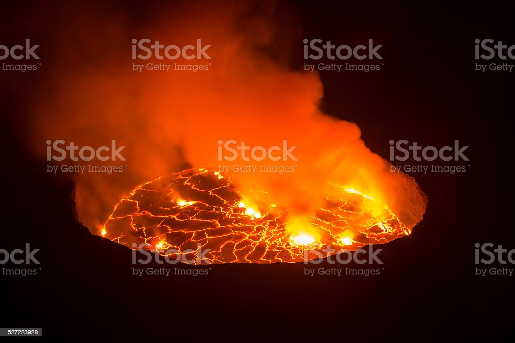 View into the heart of earth, Nyiragongo volcano, Congo stock photo