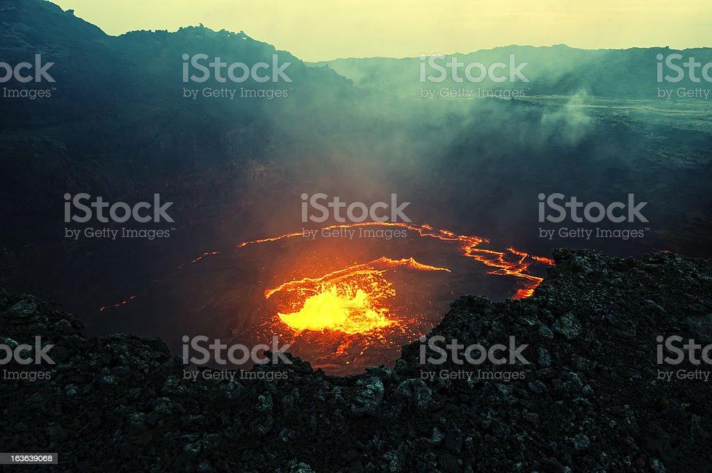 View into the lava lake of Erta Ale volcano, Ethiopia royalty-free stock photo