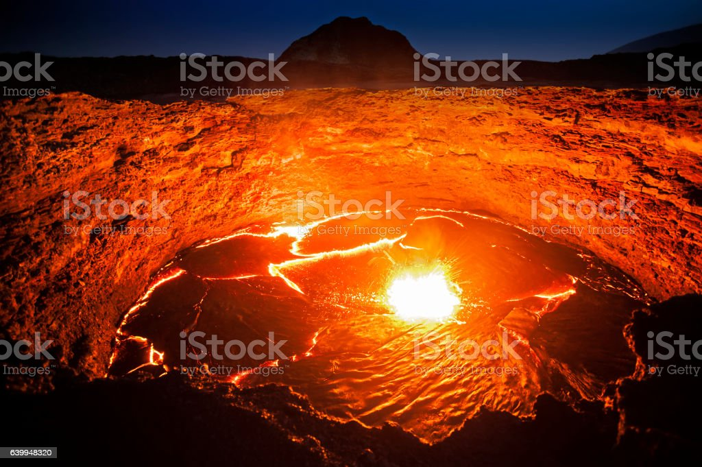 View into the lava lake of Erta Ale volcano, Ethiopia stock photo