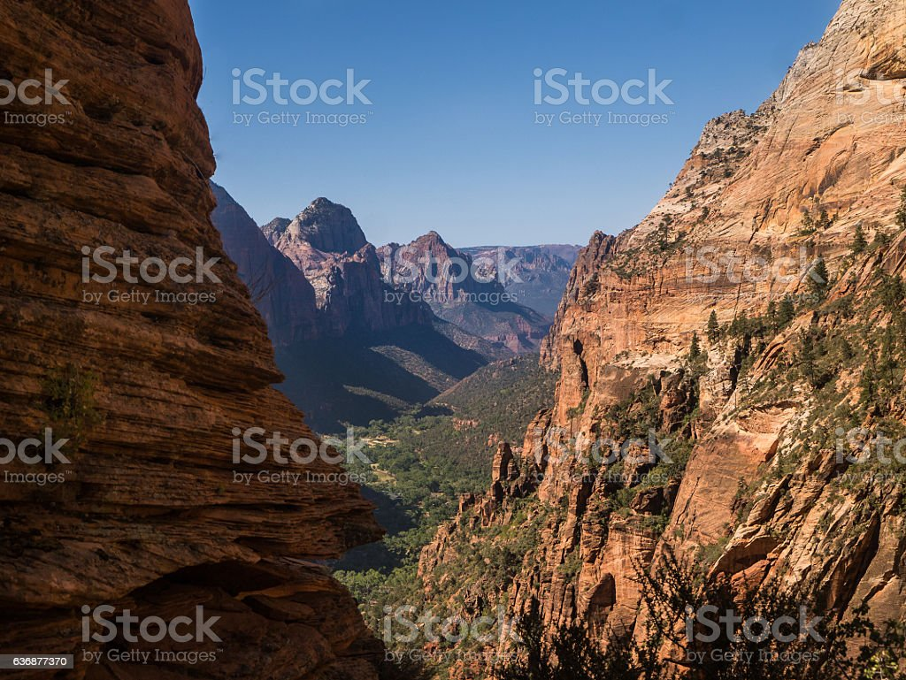 View into the Valley - Zion Nationalpark, Angels Landing stock photo