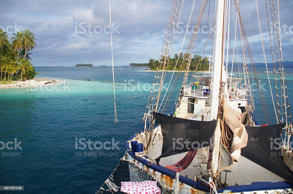 View Island from boat, Panama stock photo