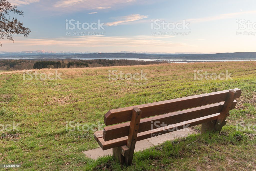 View lake of constance with swiss alps stock photo