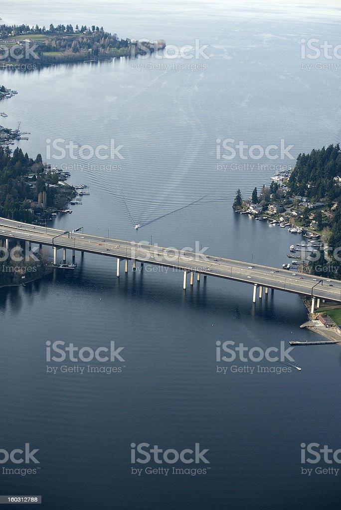 view Lake Washington and high way 405 royalty-free stock photo