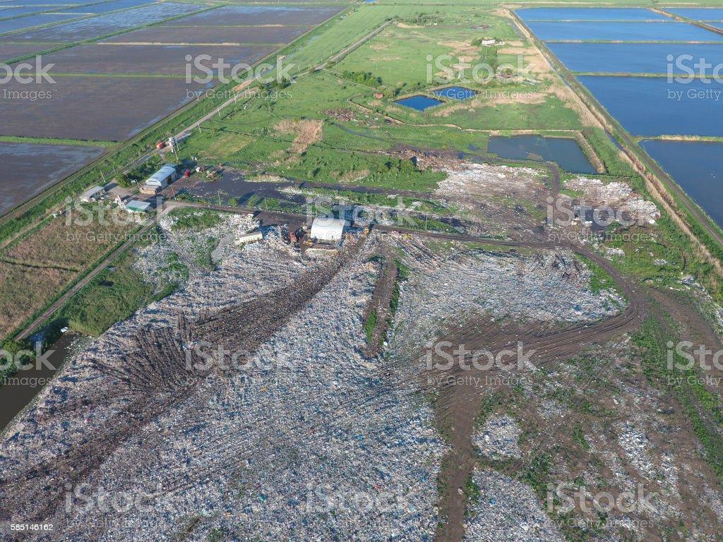 View landfill bird's-eye view. Landfill for waste storage. stock photo