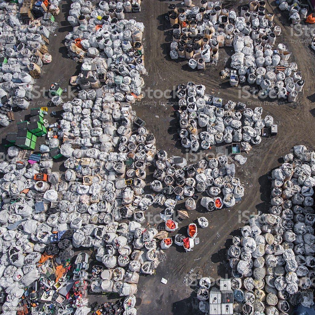 View landfill bird's-eye view. Landfill for waste storage. View stock photo