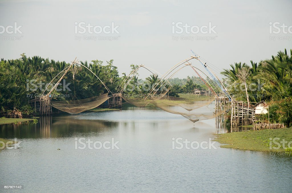 View landscape of fishing lift and dip net machine stock photo