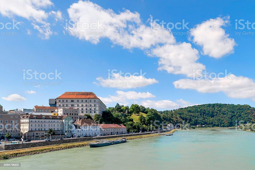 View Linz Danube stock photo