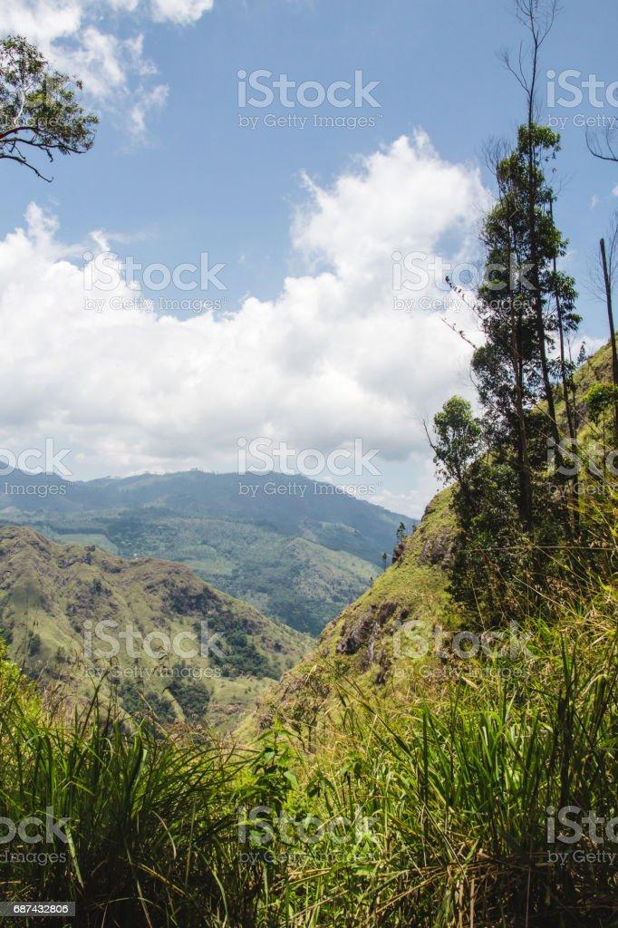 View looking down one of the valleys beneath Ella Rock, Sri Lanka. stock photo
