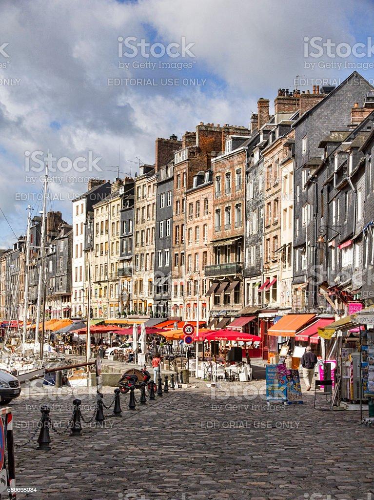 View Looking Down Quai Saint-Etinne in Honfleur, France stock photo