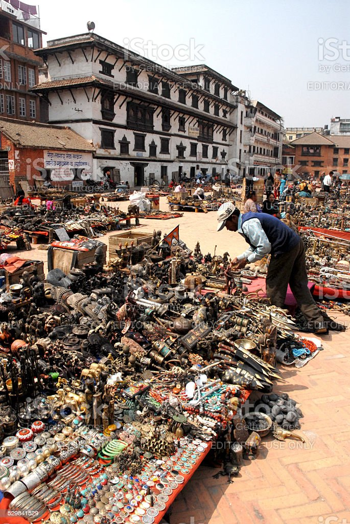 View market street of entrance to Durbar Square,Nepal. stock photo