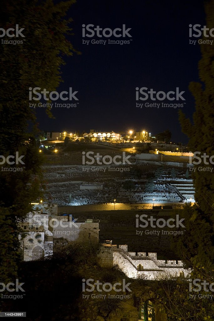View - Mount of Olives at night royalty-free stock photo