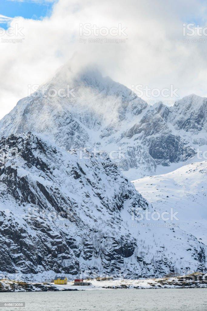 View near Flakstad village in winter in the Lofoten in Norway stock photo