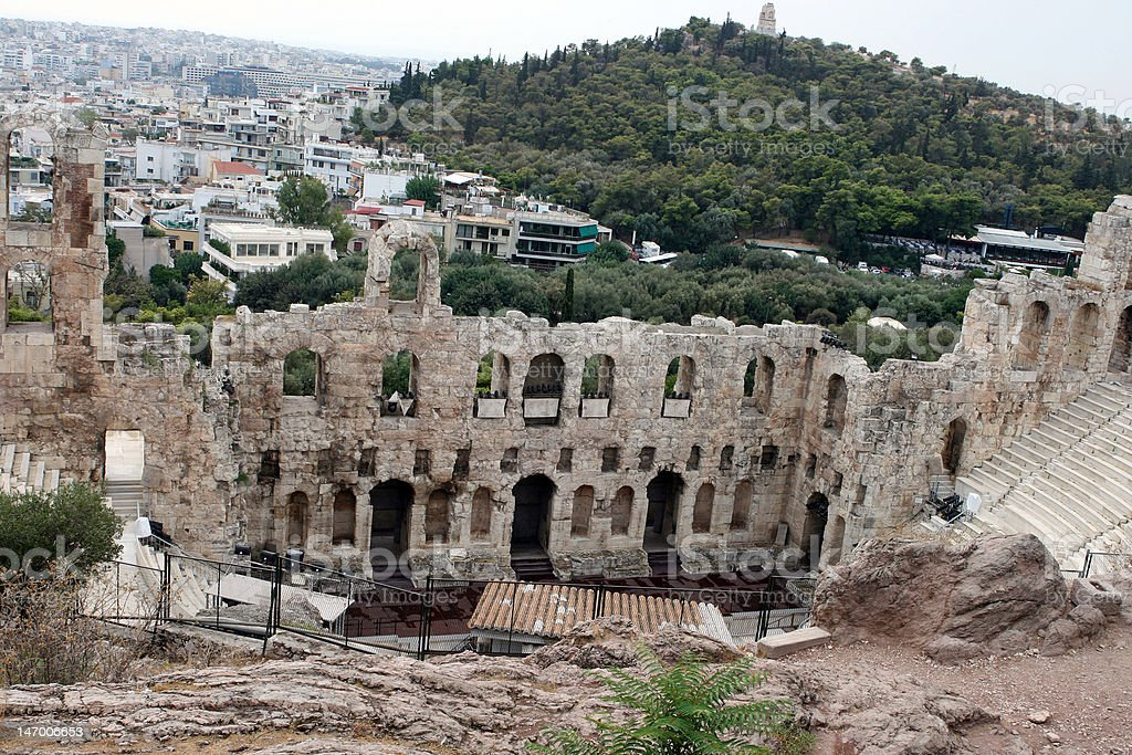 View Odeon of Herodes Atticus royalty-free stock photo