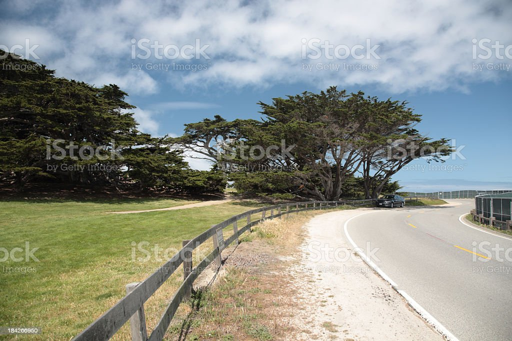 View of 17 Mile Drive in Big Sur California stock photo
