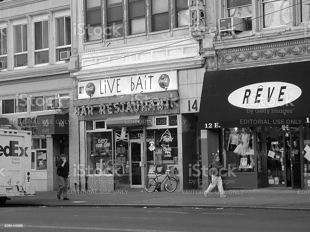 View of 23rd street. Live Bait, Reve, Kabob King stock photo